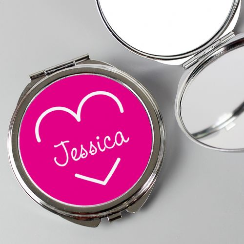 Personalised Pink Love Island Compact Mirror
